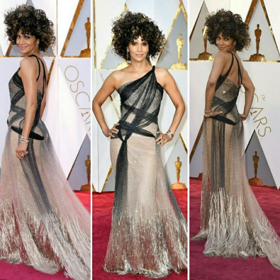 Halle Berry Rocks Curly Locks And Atelier Versace Dress At The Academy Awards