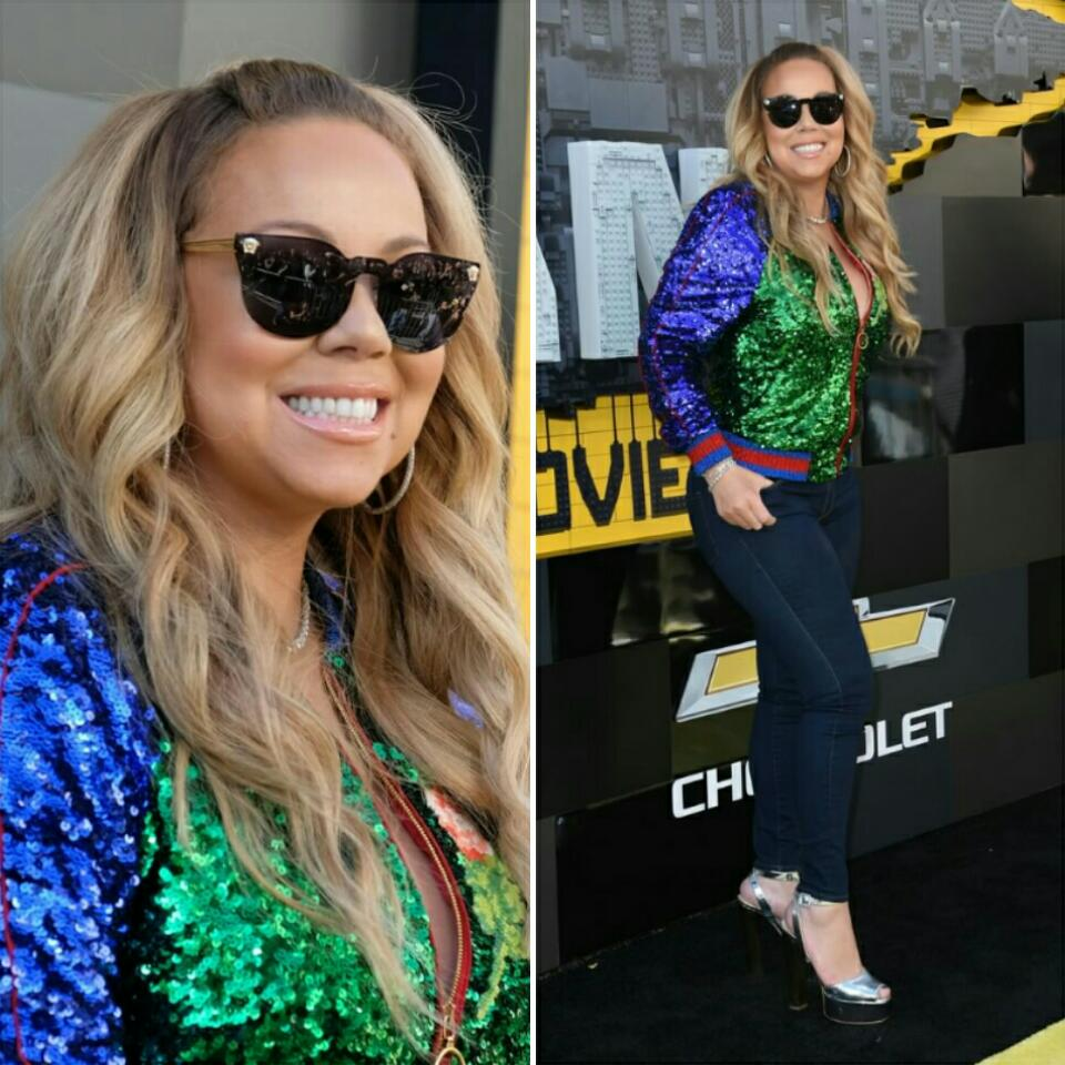 Mariah Carey's Batman Lego Westwood Premiere $6500 Gucci Sequin Bomber