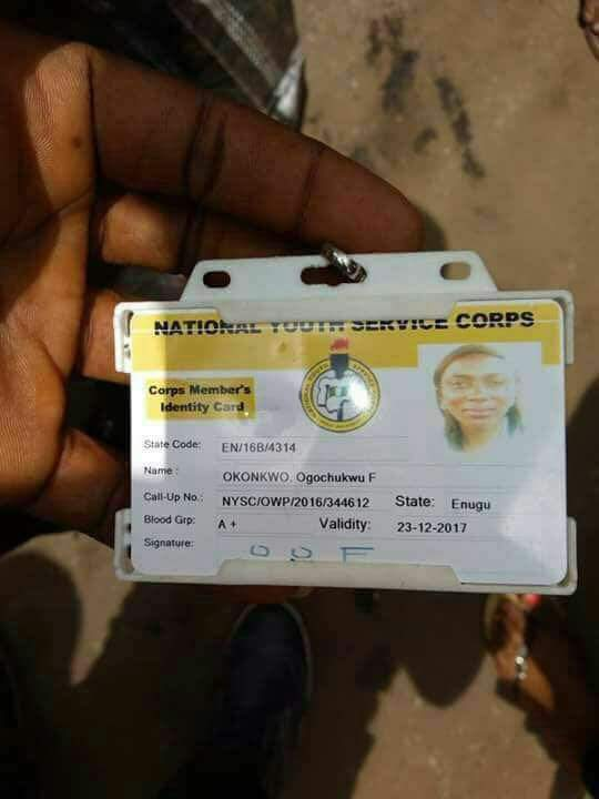 NYSC Member Okonkwo Ogochukwu Deployed To Enugu Has Died In A Fatal Road Accident