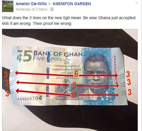 Prophet Has Taken To Facebook To Prove That New 5 Cedis Note Is Satanic (666) Money