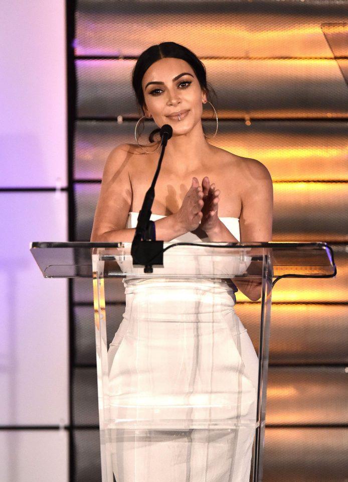 Kim Kardashian Glitzy Awards Ceremony Dress
