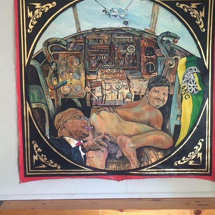 Ayanda Mabulu Painting Of Jacob Zuma Licking Atul Gupta Butt