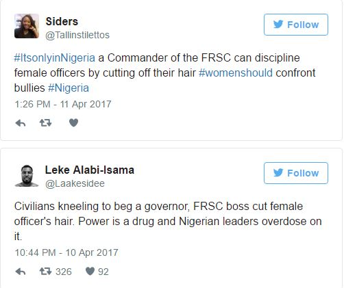 Nigerians Have Reacted On Social Media About The FRSC Commander Who Chopped Off Female Officer's Hair 4