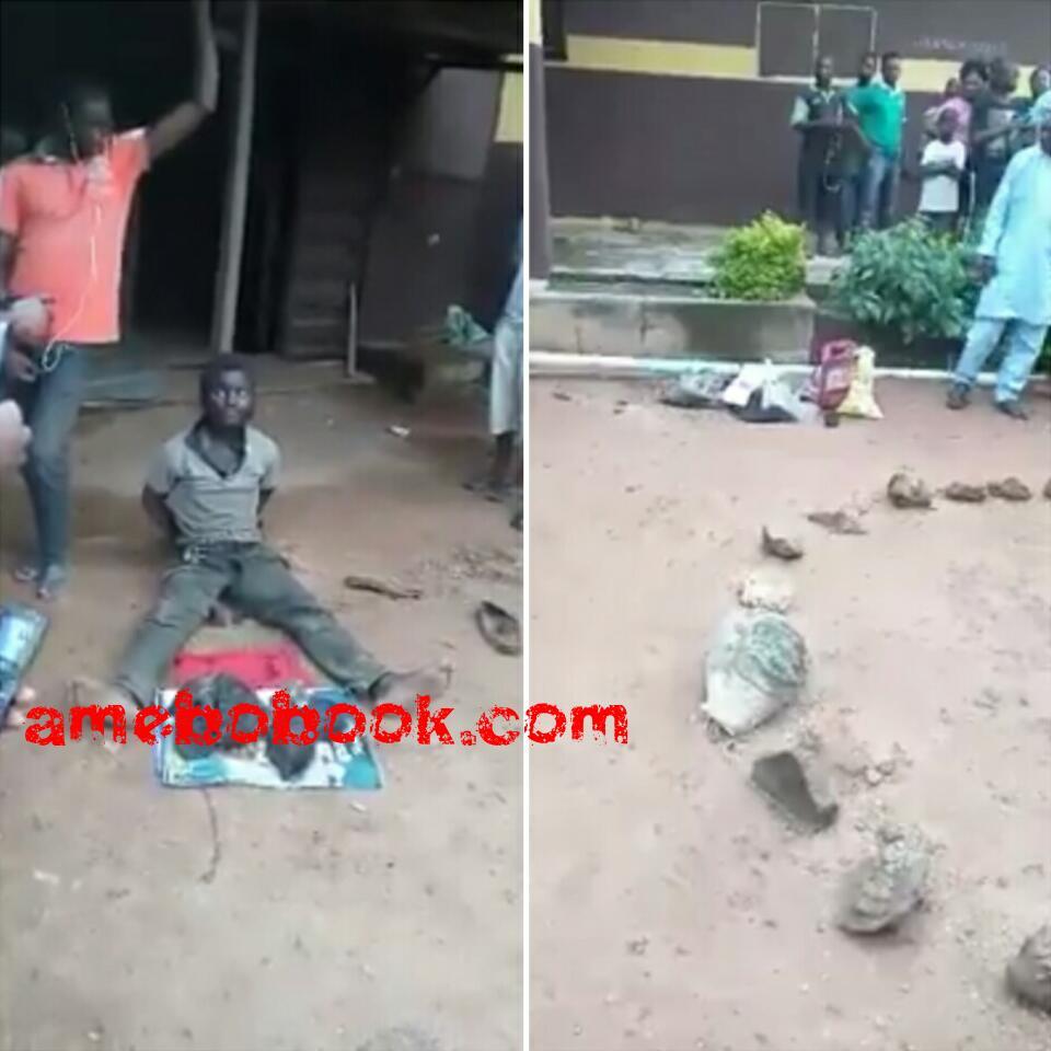 Man Vigilante Members Caught With Roasted Human Parts At Adeola, Ijebu Ode, Ogun State