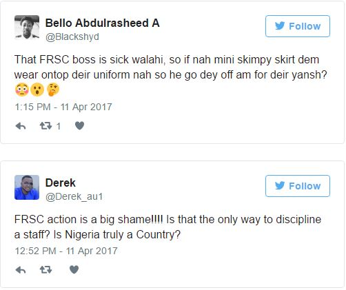 Nigerians Have Reacted On Social Media About The FRSC Commander Who Chopped Off Female Officer's Hair 3