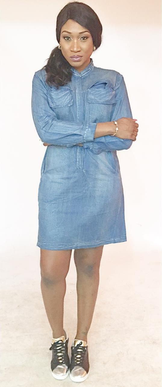 Oge Okoye Is Slay Queen In Denim Dress Shirt 2