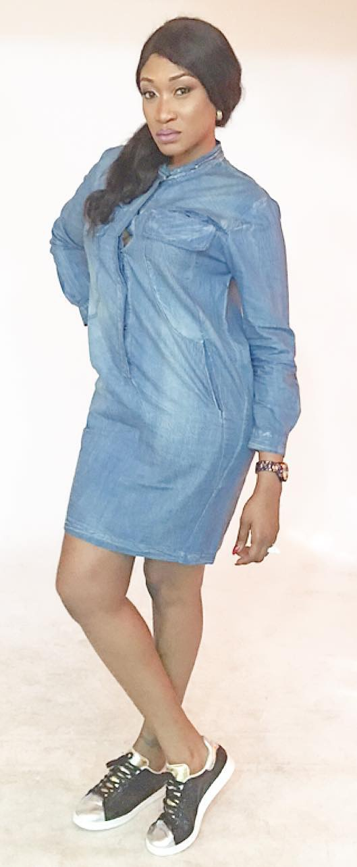 Oge Okoye Is Slay Queen In Denim Dress Shirt 3
