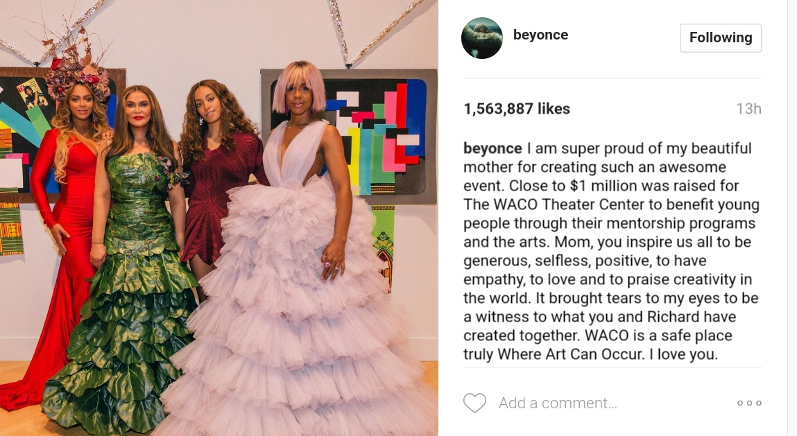 Beyonce Shows Off Family Photo While Rocking Red-Hot Gown And Headpiece 1