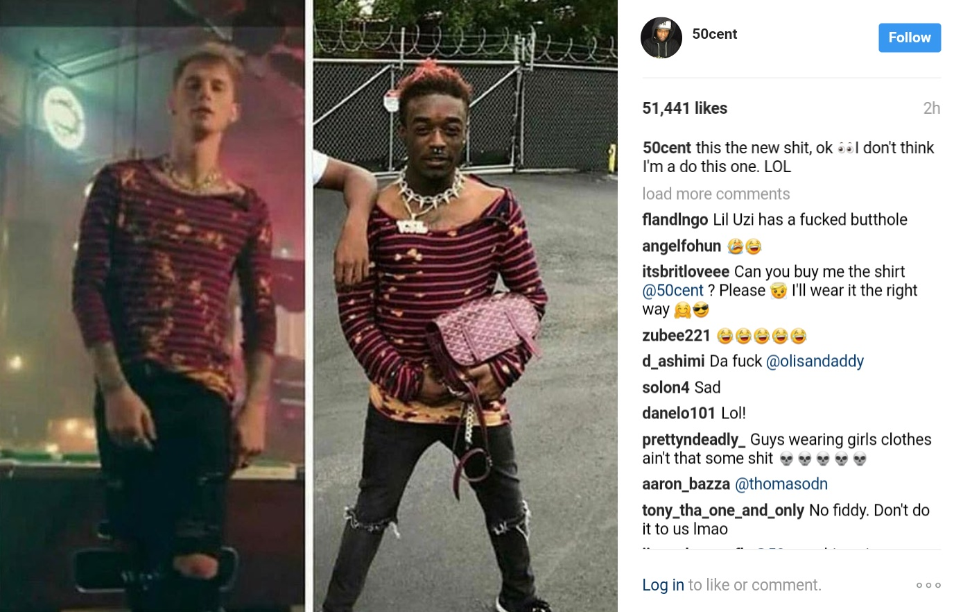 50 Cent Has Reacted To Lil Uzi Vert's Eye-opening Fashion Style
