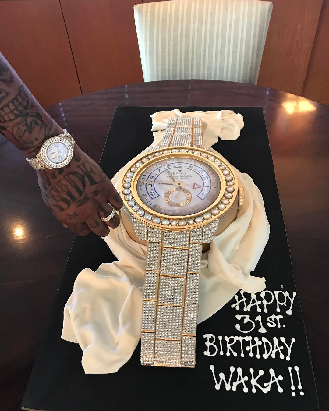 Gold Watch Cake Tammy Rivera Spoilt Her Husband Waka Flocka With To Celebrate His 31st Birthday