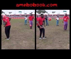Kanu Nwankwo And Jay Jay Okocha Challenge Each Other In Ball Juggling