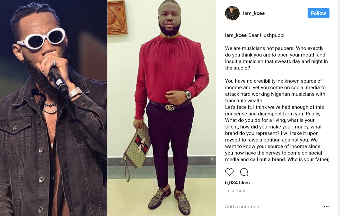 Kcee Has Blasted Hushpuppi After His Continuous Attack On Nigerian Musicians (1)