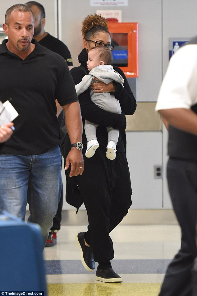 Janet Jackson Doting Over Son Eissa As She Takes Him On First Trip To United States (2)