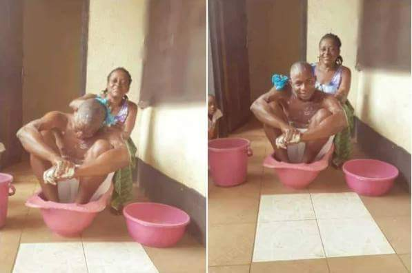 Nigerian Man Has Gone Viral After Allowing His Mother Bathe And Feed Him To Celebrate His Birthday (1)