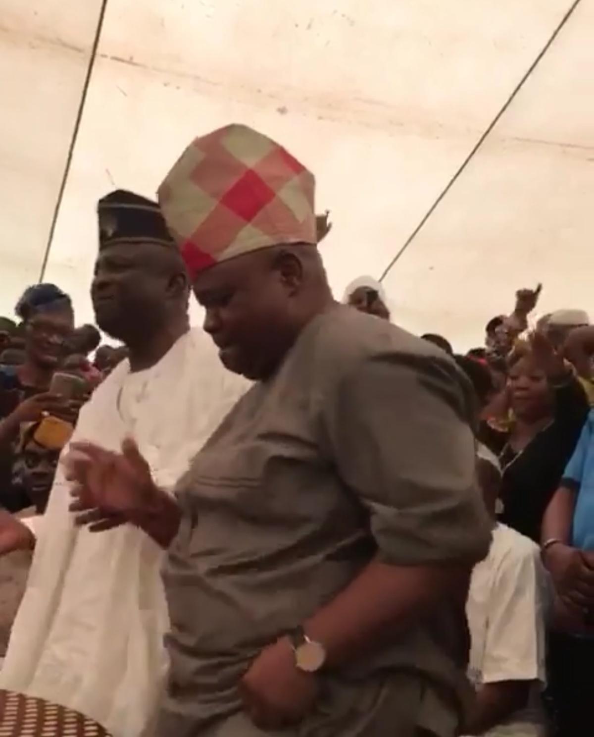 Davido Uncle Ademola Adeleke Dancing After Winning Senatorial Election Osun (1)