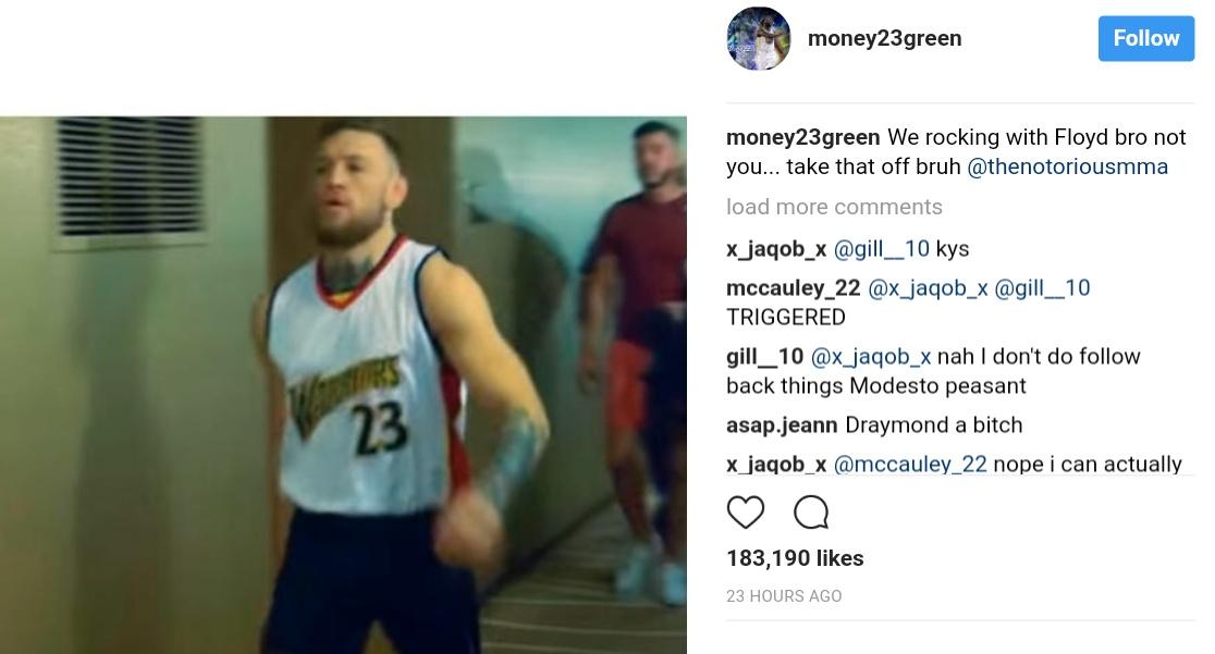 Conor McGregor Wearing CJ Watson Basketball Jersey To Mock Floyd Mayweather (1)