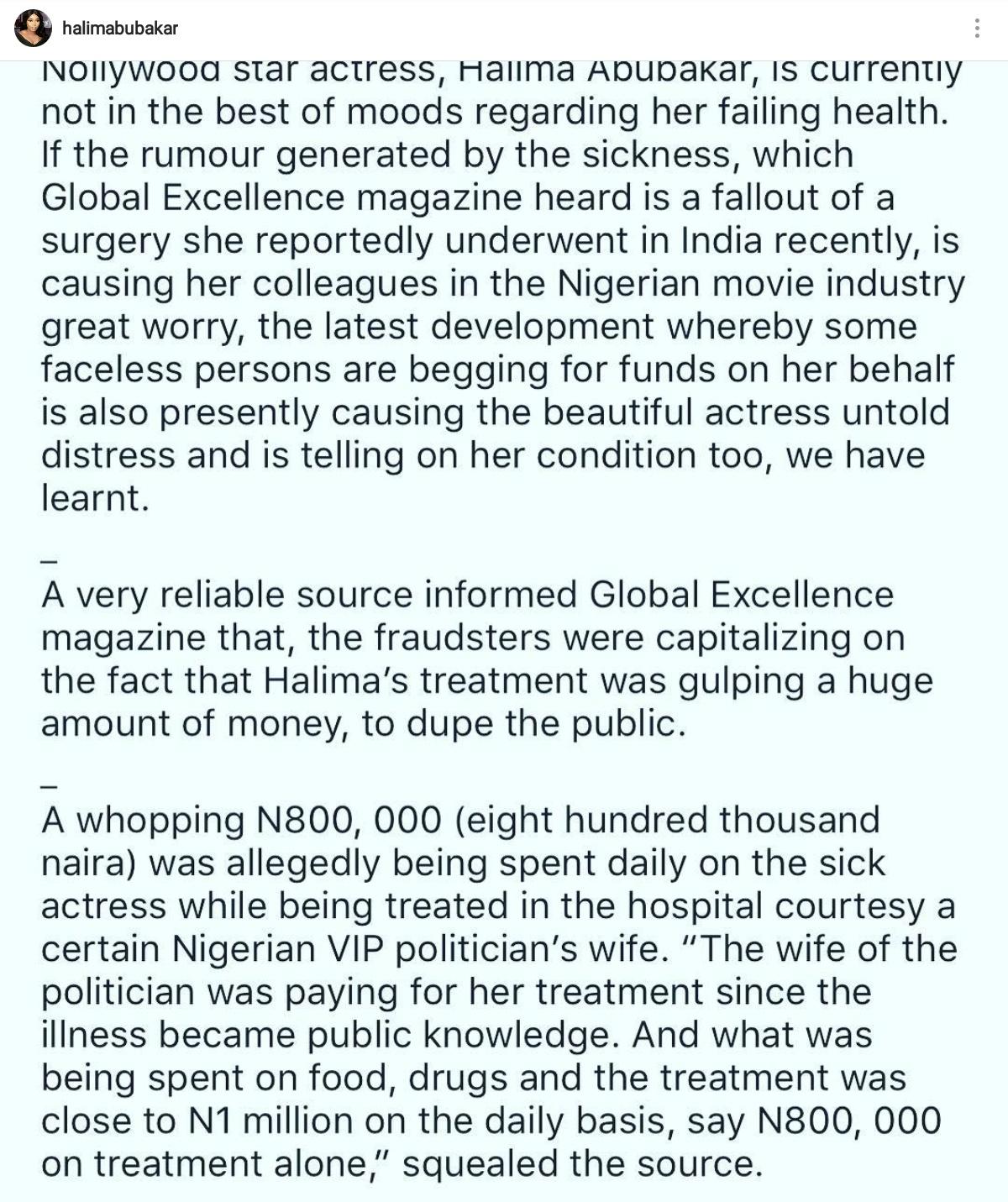Halima Abubakar Addresses Rumours That She Is Spending N800K On Her Illness Daily (1)