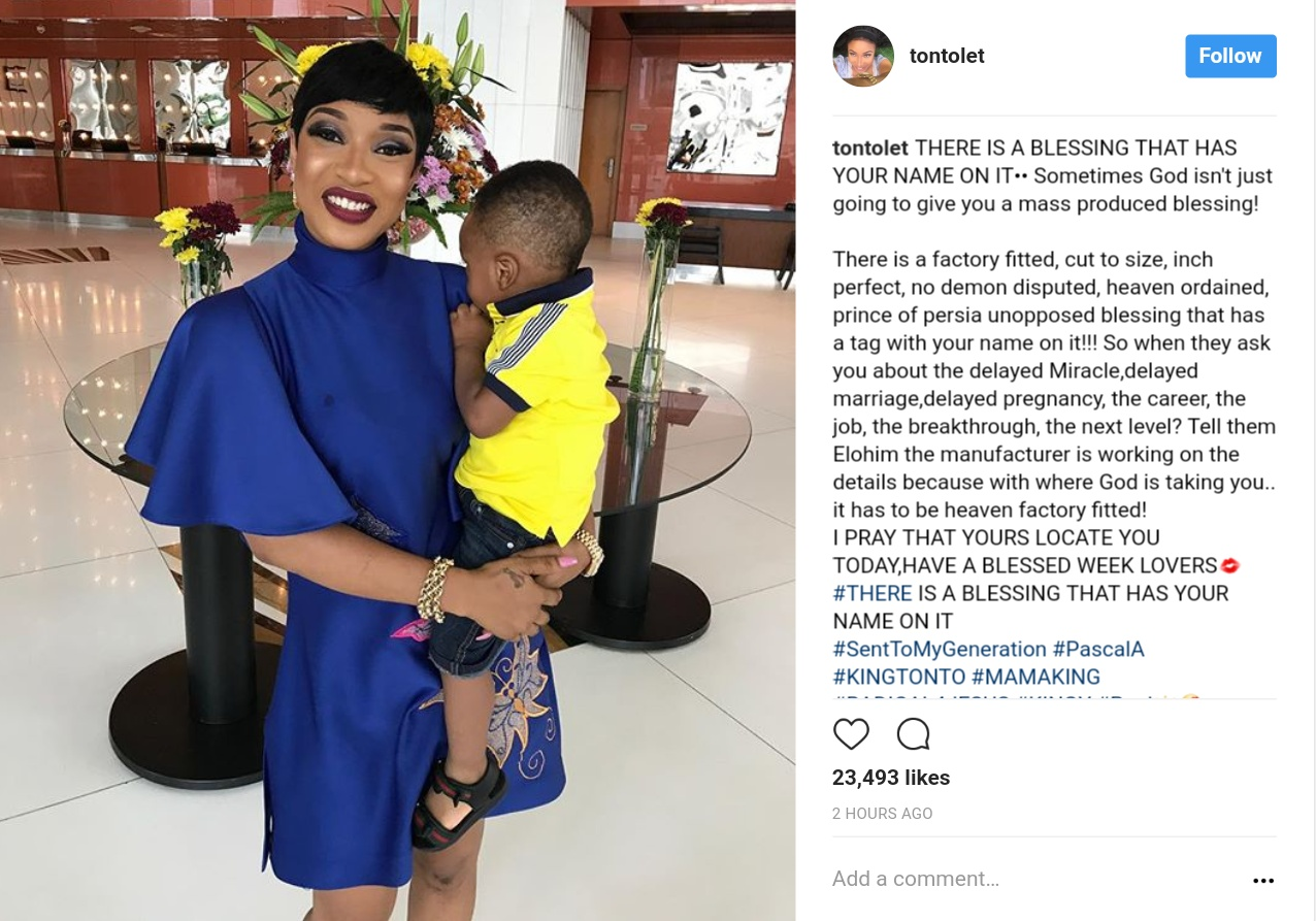 Tonto Dikeh Steps Out Looking Stylish Alongside Her Son (1)