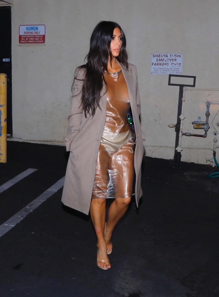 Kim Kardashian Rocks See Through PVC Dress (1)