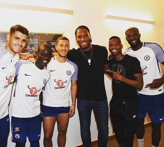 Didier Drogba Pictured Alongside AlvaroMorata, Eden Hazard, TiemoueBakayoko, CesarAzpilicueta At Cobham