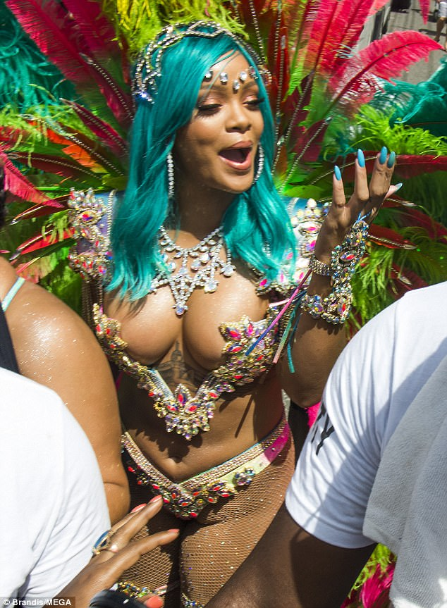 Rihanna Shows Off Her Thick Body In Revealing Bejeweled Bikini In Annual Crop Over Festival (8)