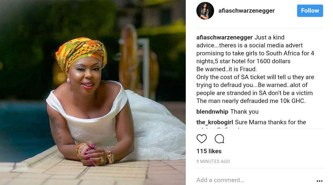 Afia Schwarzenegger Issues Warning On Fraudulent Social Media Advert Promising To Take Girls To South Africa