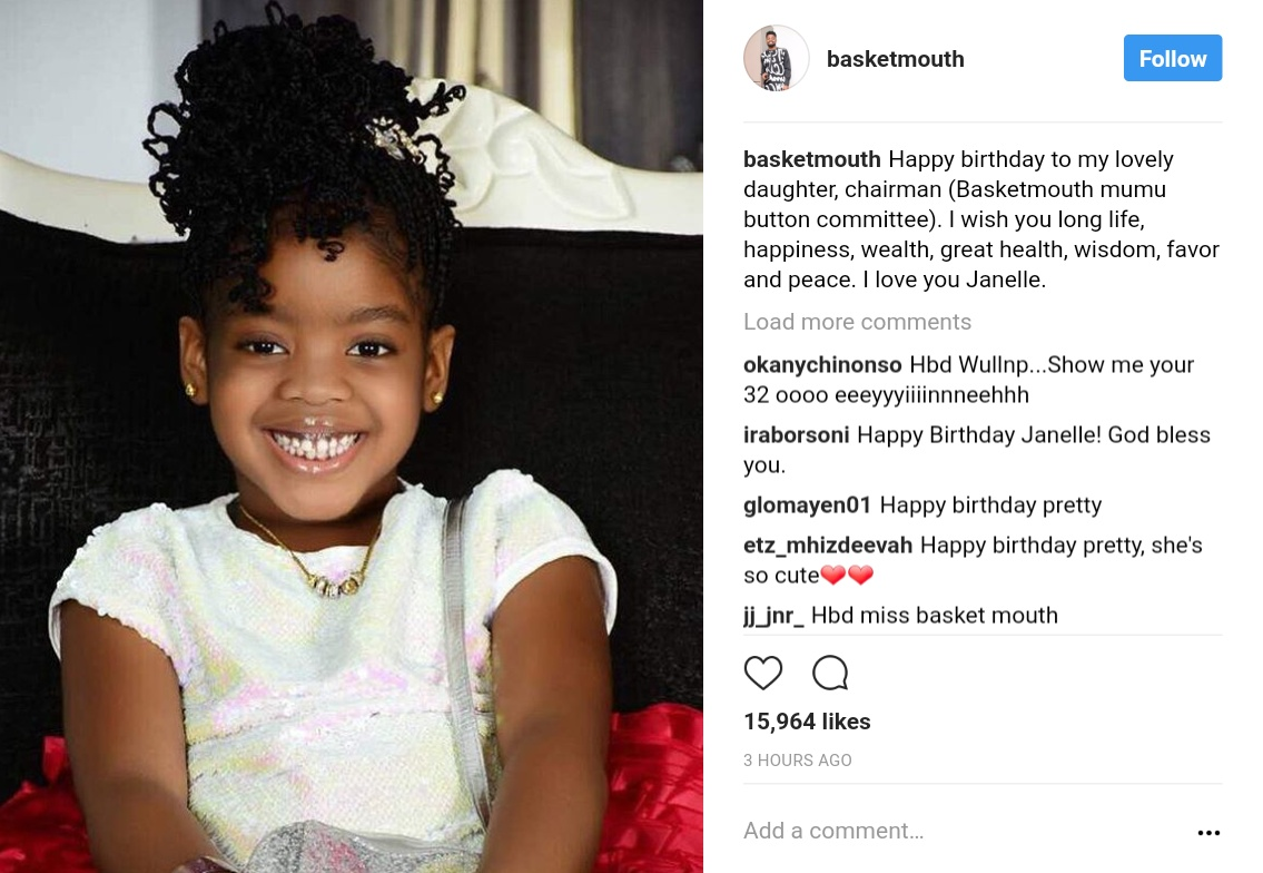 Basketmouth Wishes Daughter Janelle Happy Birthday (2)