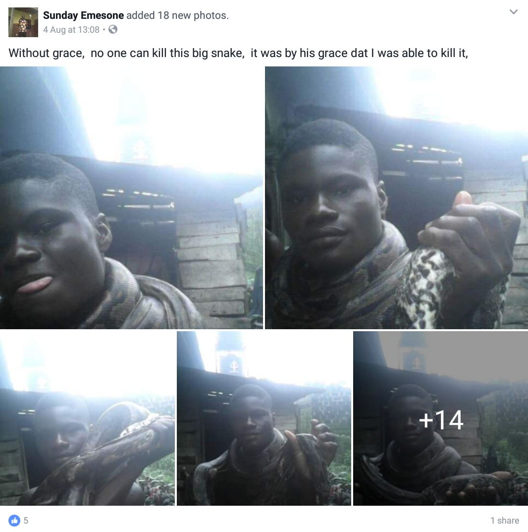 Young Nigerian Man Killed A Big Snake And Displayed It Around His Neck (1)