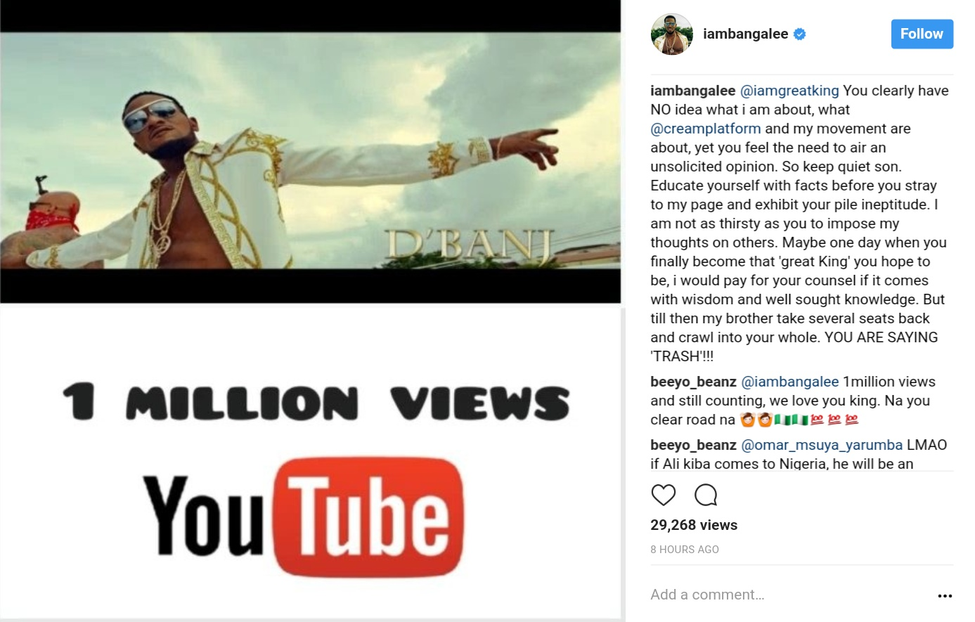 D'banj Slammed A Troll Who Told Him To Quit Music (3)