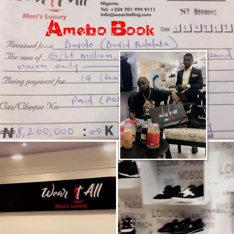 Davido Spent N8.2 Million On 14 Items