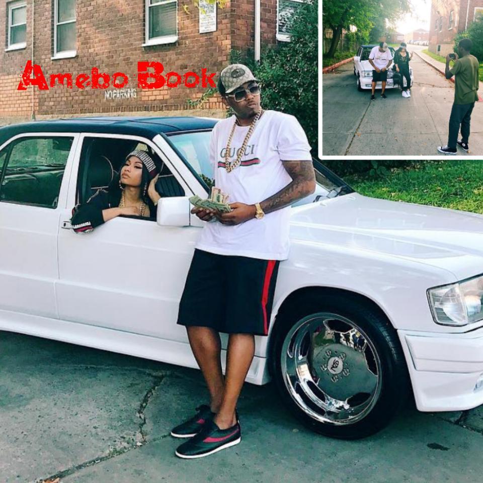 Nicki Minaj Poses With Nas In His 88' 190E Benz