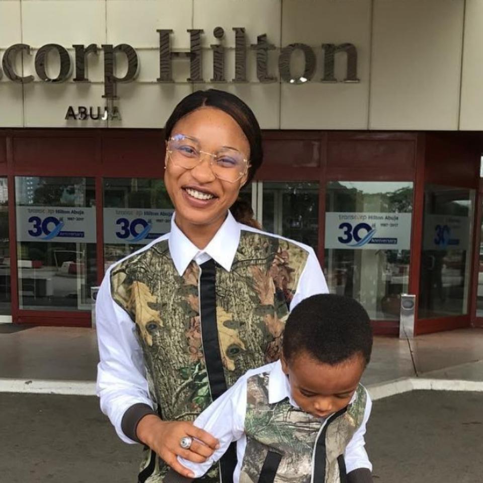Tonto Dikeh And Son Rocked Matching Shirts While At Transcorp Hilton Abuja