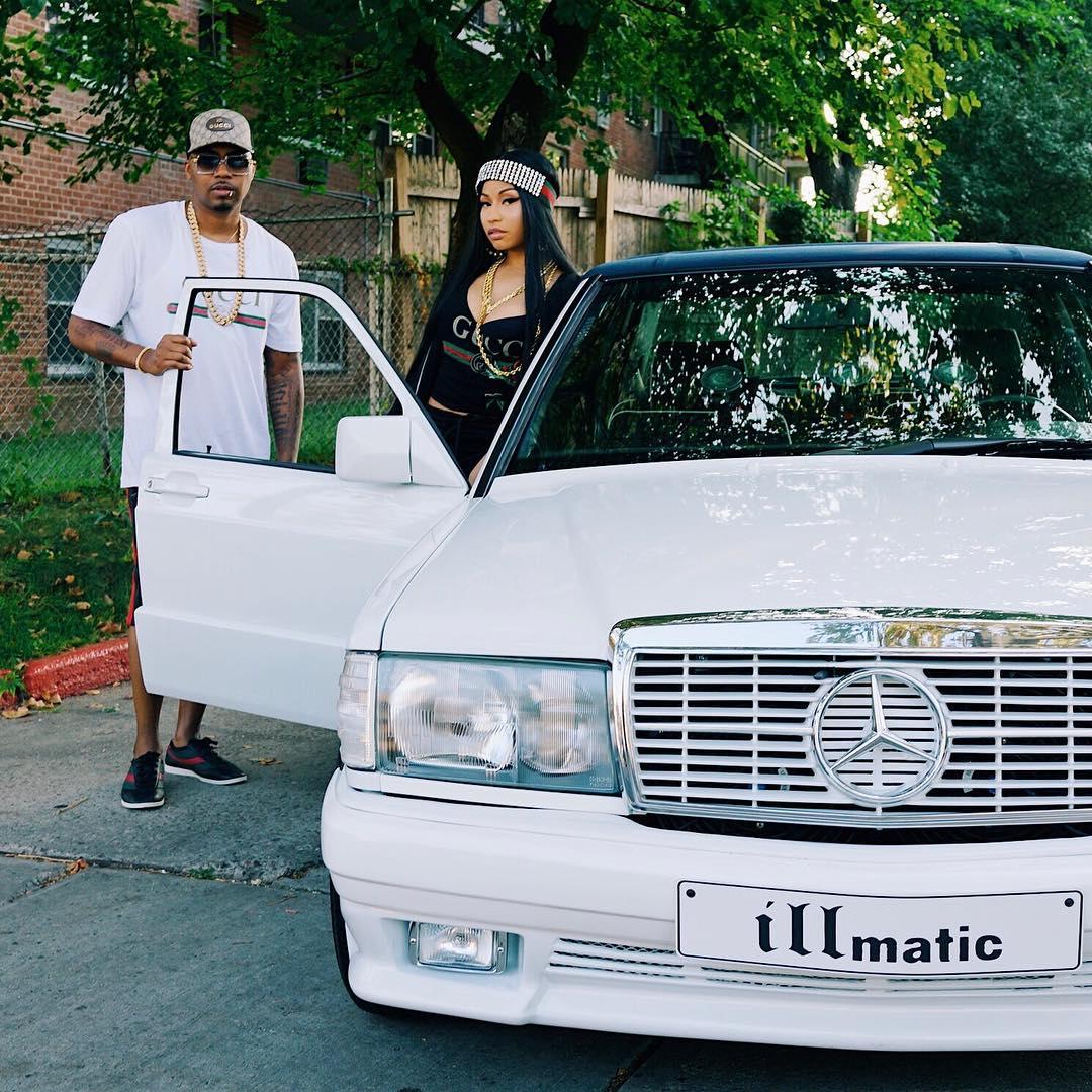 Nicki Minaj Poses With Nas In His 88' 190E Benz (1)