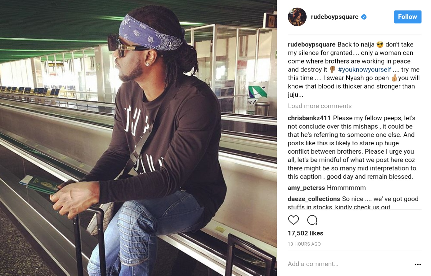 Paul Psquare Thinks Only A Woman Can Get In The Way Of Brothers Working In Peace And Destroy It Using Juju