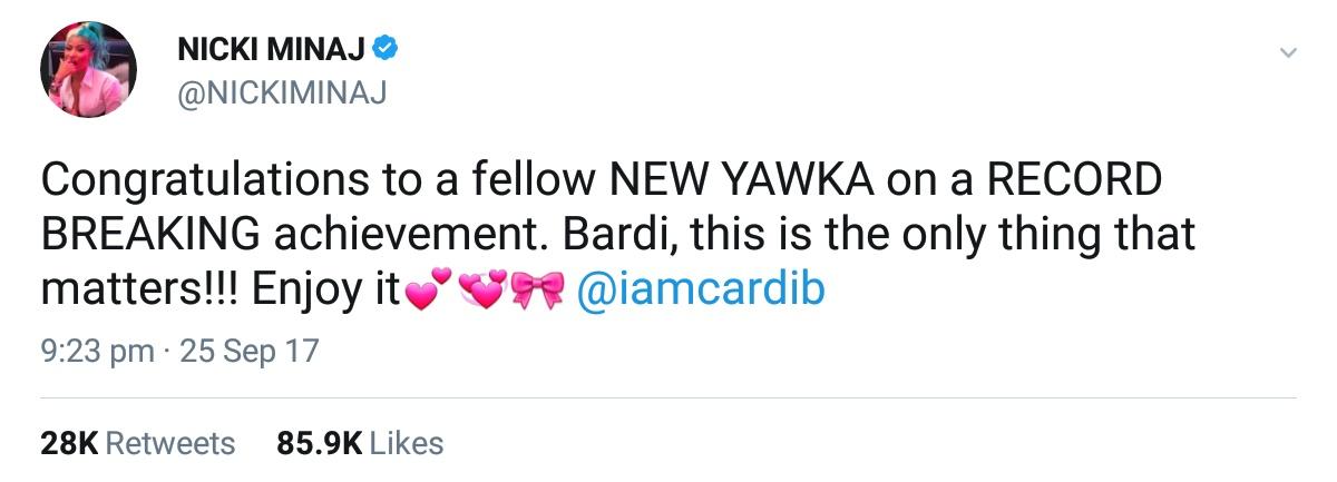 Nicki Minaj Congratulates Cardi B (1)