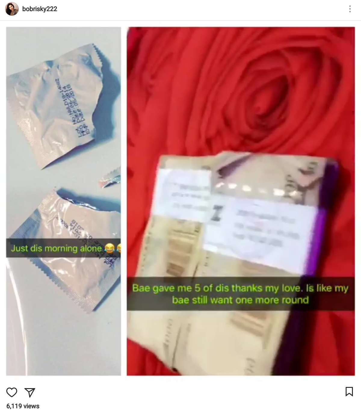 Bobrisky Shares Photos Of Two Torn Open CondomPackets With Wads Of Cash (1)