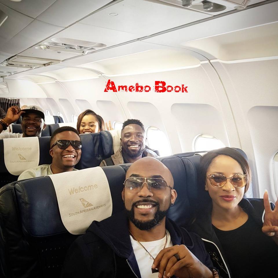 Banky W And Adesua Etomi Alongside Ebuka Obi-Uchendu Pictured On Plane