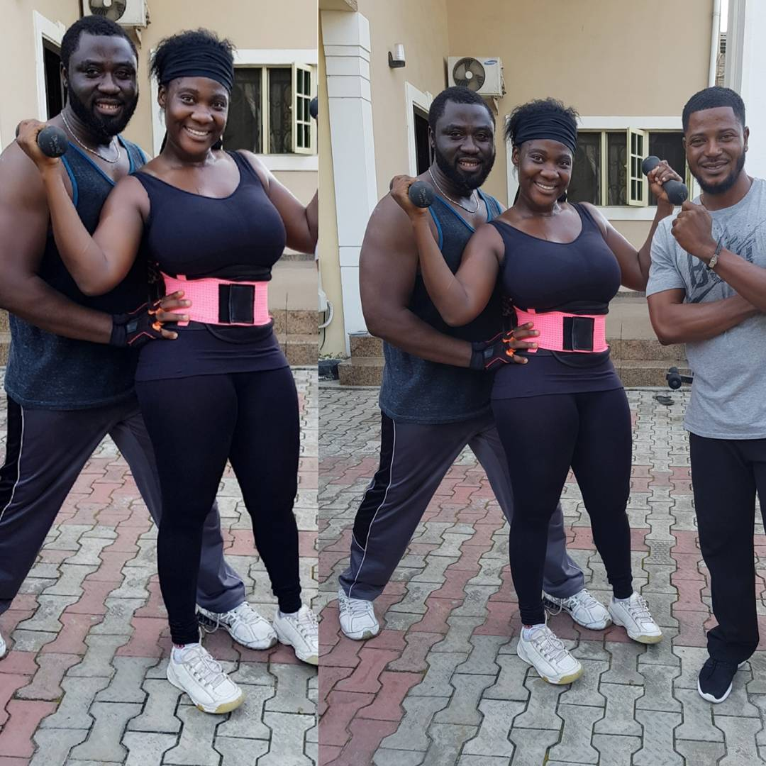 Mercy Johnson Helped By Husband As She Begins Tummy Trimming Exercise (8)
