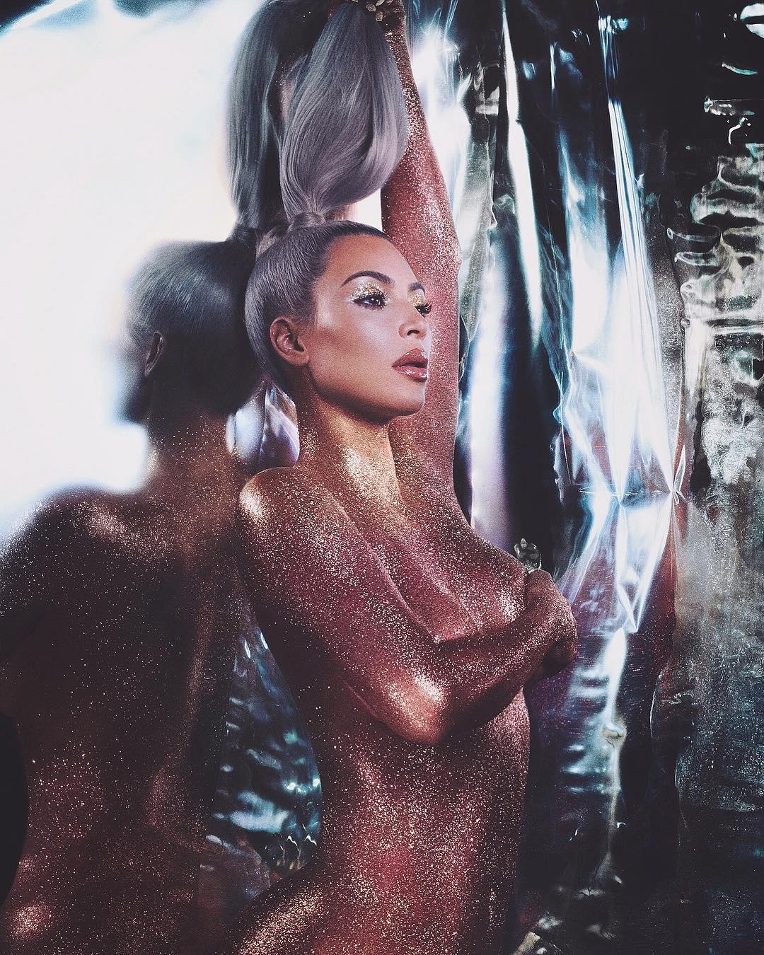 Kim Kardashian KKW Beauty Glitter Photo Shoot
