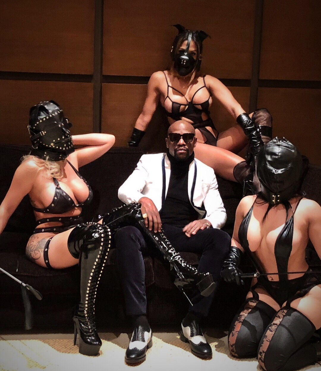Floyd Mayweather Poses With Three Scantily Clad Women Wearing Leather Masks (5)
