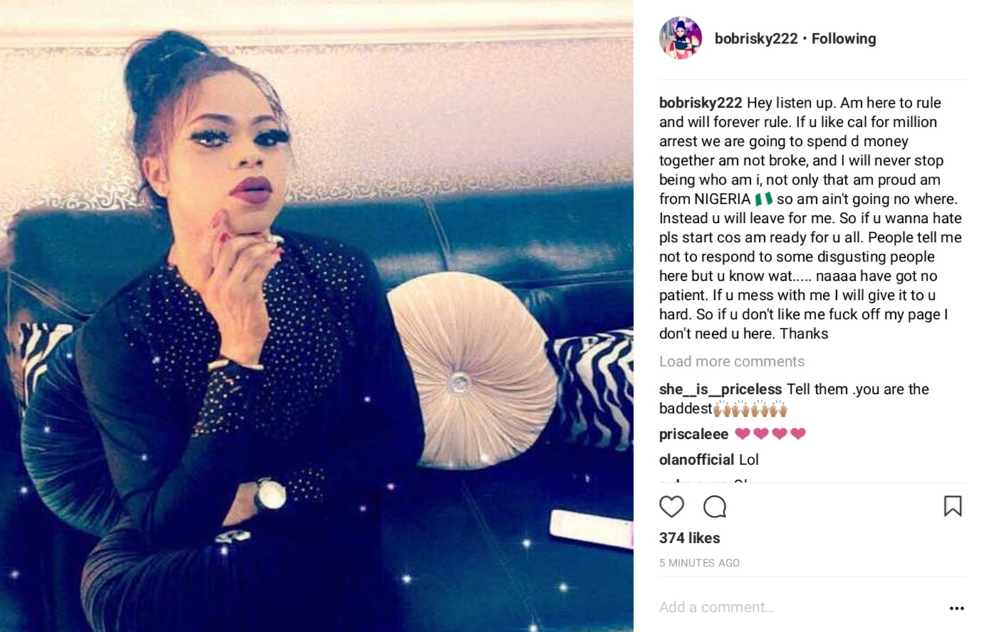 Bobrisky Warns He Is Not Afraid Of The Police And will Continue To Trend (2)