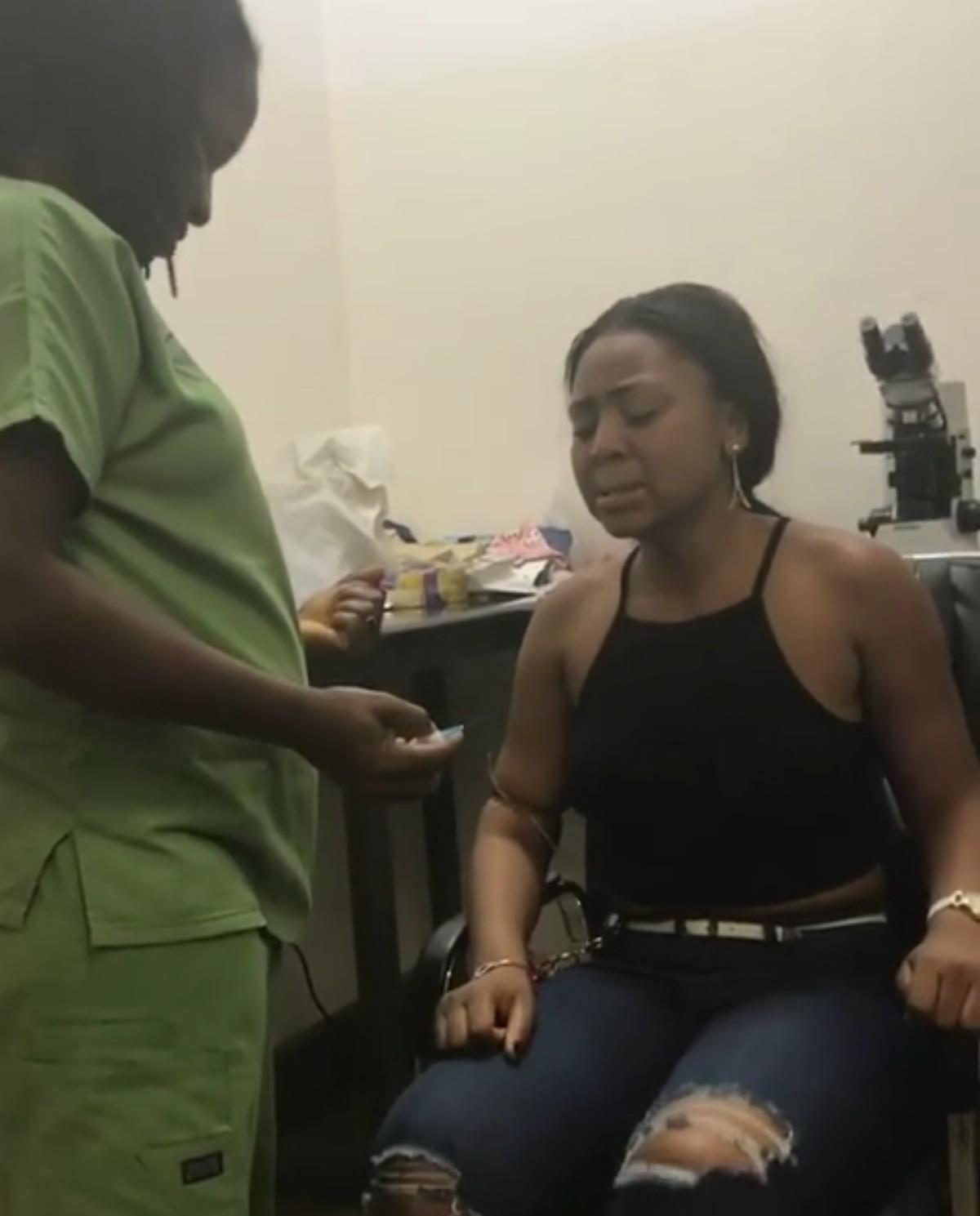 Regina Daniels Shows Extreme Fear Of Needles At A Hospital (9)