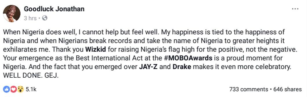 Goodluck Jonathan Hails Wizkid For Emerging Best International Act At MOBO Awards 2017 (2)