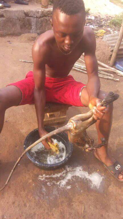 Nigerian Man Pictured Slaughtering Roasted Monkey He Just Killed In Rivers State (9)
