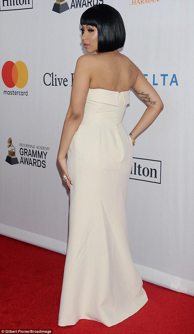 Cardi B White Strapless Dress And  $550K Engagement Ring Clive Davis Pre-Grammy Gala