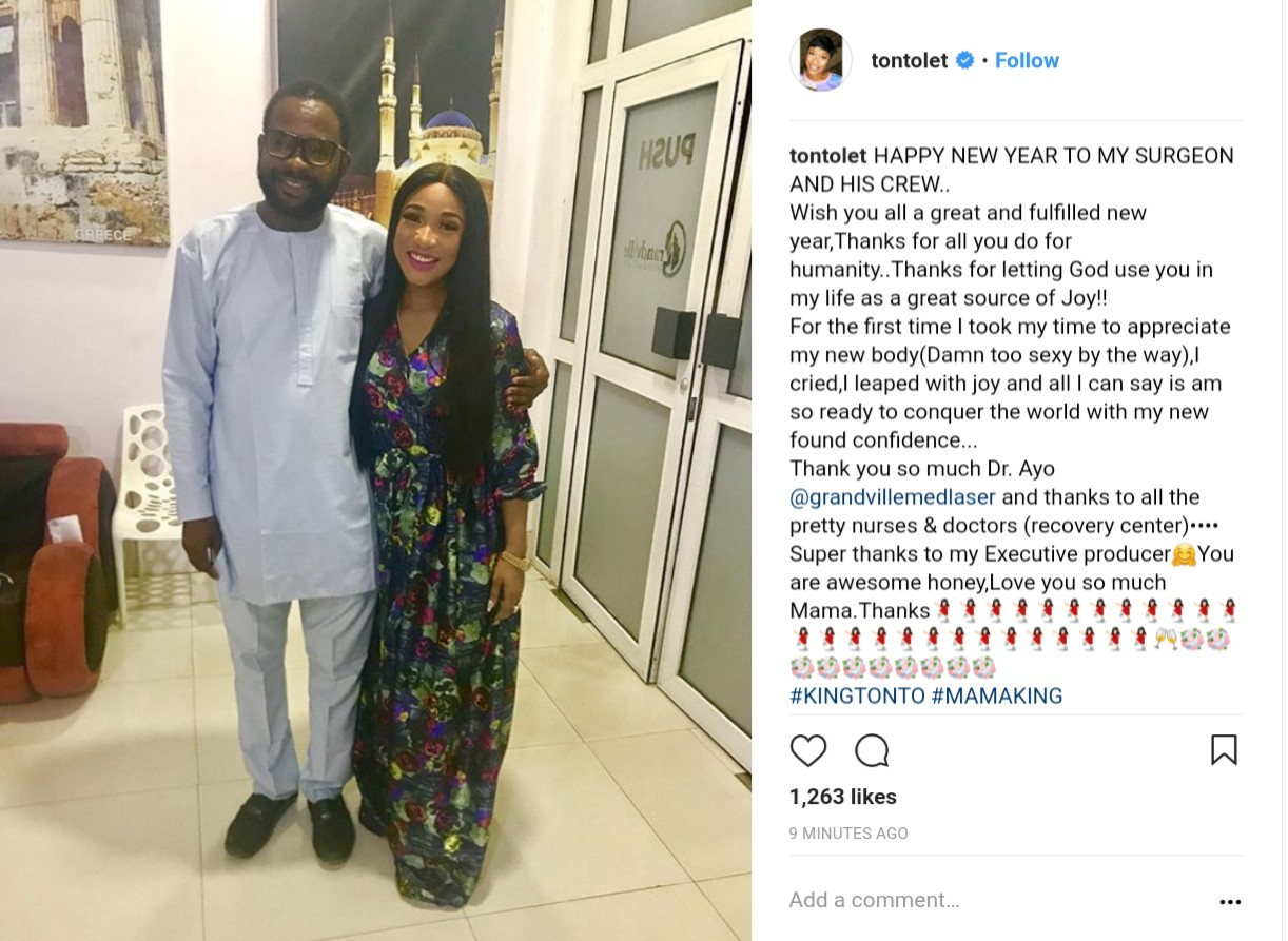 Tonto Dikeh Sends New Year Message Thanking Her Surgeon For Her New Body (2)