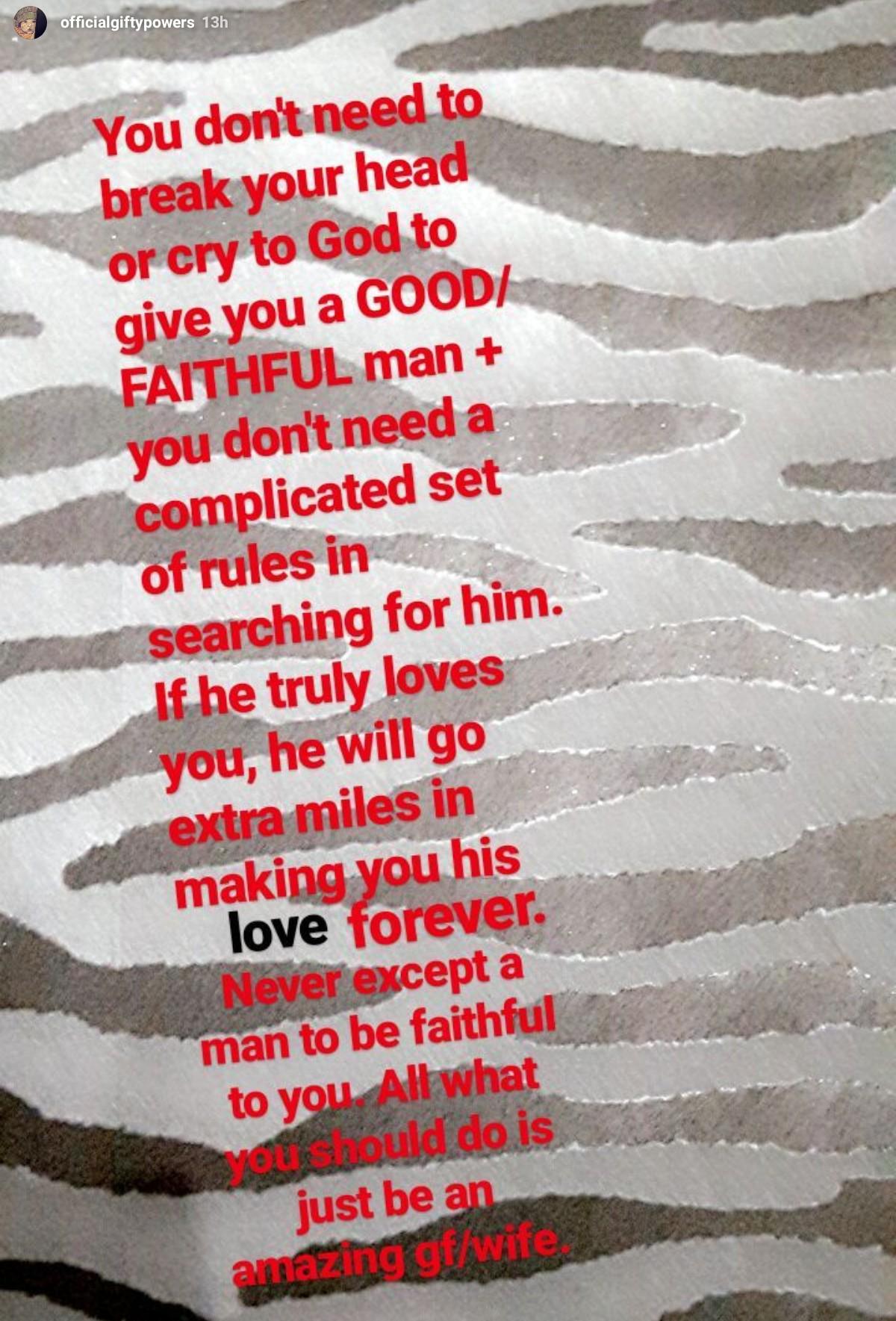 Gifty Powers Relationship Advice For Good/Faithful Man (2)