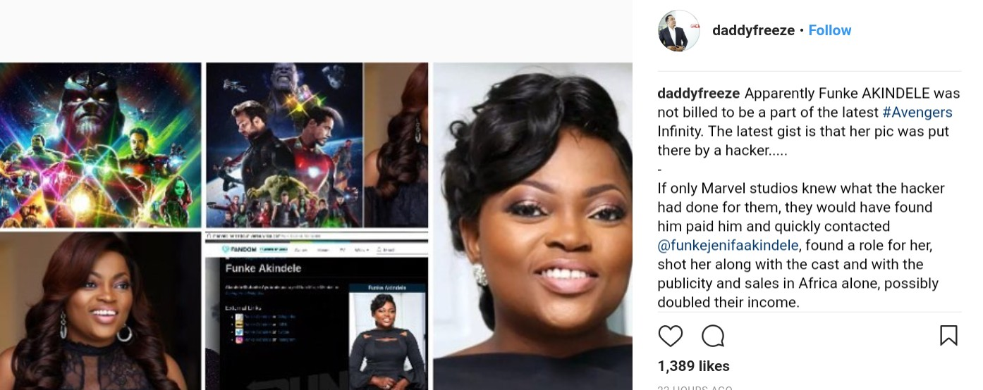 Removal Of Funke Akindele's Name From Avengers: Infinity War Cast List (2)