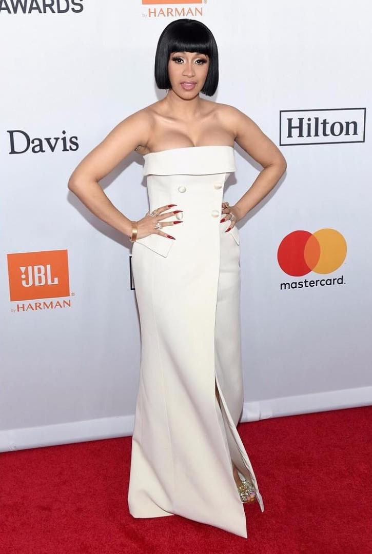 Cardi B White Strapless Dress And  $550K Engagement Ring Clive Davis Pre-Grammy Gala (2)