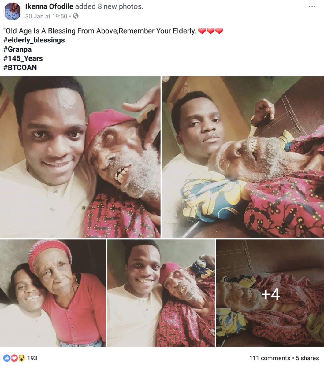 Nigerian Man Shows Off His 145-Year-Old Grandpa